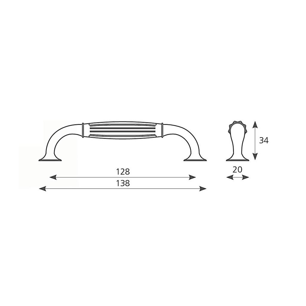 AMIX GKS003 Gałka z kryształem, złoto