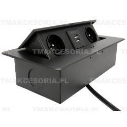 GNIAZDO WPUSZCZANE W BLAT FLEXIPORT CZARNE Z USB I KABLEM